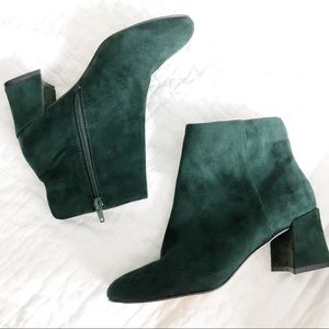Shoes - Green Suede Booties